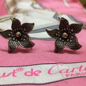 "Vintage ""Jewel Art"" Sterling screw earrings"